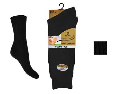 ALER 12 Pairs Mens 100% Cotton Gold Style Black Socks UK Size 6-11 EUR 39-45