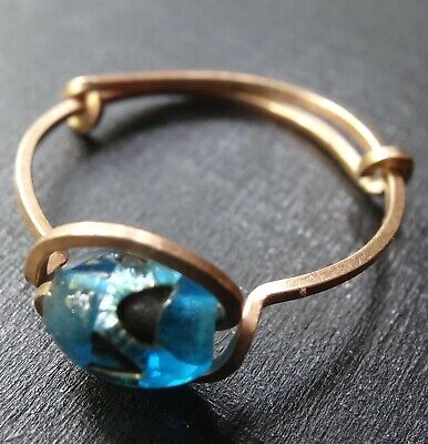 vintage art deco GOLD filled blue foiled glass bead wire dress ring -R378