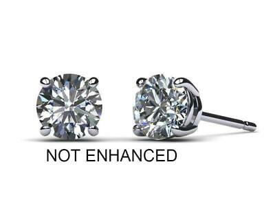 3 CT D SI1 Real 100% Natural Diamond Round Cut Stud Earrings 14k White Gold