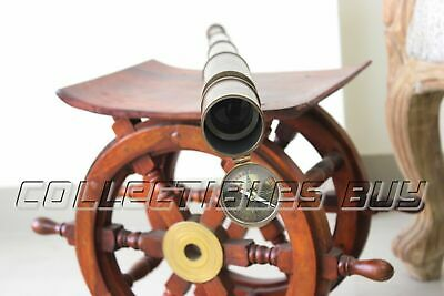 Vintage Antique Draw Solid Brass Telescope Adjustable Maritime Handheld Marine
