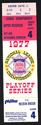 Philadelphia Phillies vs Dodgers 1977 NLCS Playoff Ticket Stub Veterans Stadium