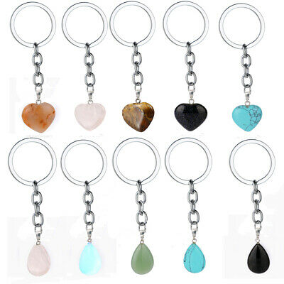 NEW RED FLAME//FIRE AGATE SPECIAL HEALING CRYSTAL GEMSTONE HEART KEYRING//KEYCHAIN