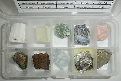 10 Mineral Stone Collection Set A in clear plastic box Education Real Specimen