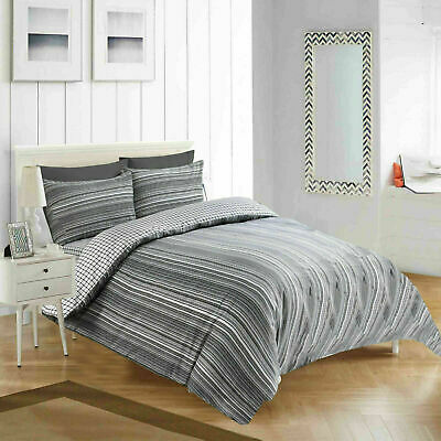 Black Slate King Size 4 Piece Duvet Cover Set With Fitted Sheet and Pillow Cases