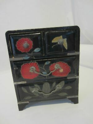 Black laquer red flower Asian chest of drawer jewelry trinket box VINTAGE wood