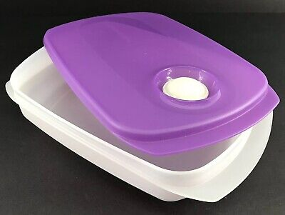 Tupperware CrystalWave Reheatable Microwave Lunchbox Container Purple #5834 New