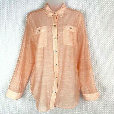 Chico's Women's Sheer Light Pink Button Down Shirt Sz 1 (Med 8) Roll Tab Sleeves