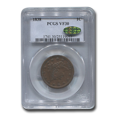 1838 Large Cent VF-30 PCGS CAC (Brown) - SKU#195280