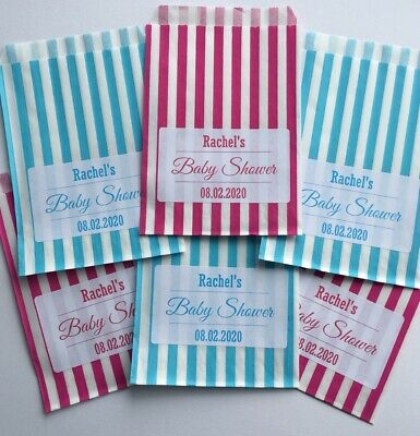 Personalised baby shower sweet bags, sweet cart, party bags, favour bags wedding