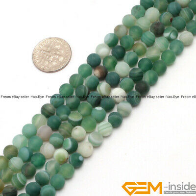 Natural Frost Gemstone Banded Green Agate Loose Beads  for Jewelry Spacer Agate