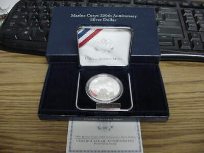 2005 Marine Corps Silver Dollar Proof Cameo in Box with COA