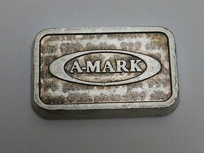 RARE 1980 USVI INGOT A-Mark Anaheim Metal Co Reverse 1 Oz Silver Bar AMARK OVAL