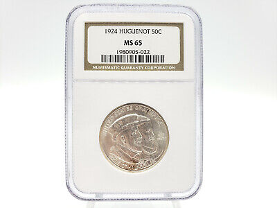 1924 NGC MS65 Huguenot Commemorative 50 Cent Piece **RARE IN HIGHER GRADES**