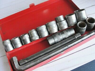 "Antique 1/2"" Dr 16 pc Hex socket Wrench set Box Duro Metal Indestro New Britain"
