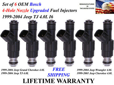 Upgrade Bosch 6 Fuel Injectors 4 Hole Nozzle for Jeep 4.0l I6 1996-1999