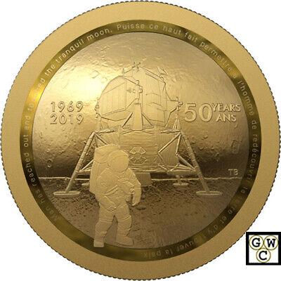 2019 '50th Ann. of the Apollo 11 Moon Landing' Proof $100 Fine Gold Coin (18766)