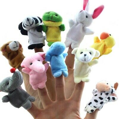 10 Pcs Animal Finger Puppets Happy Family Cloth Doll Hand Kids Toys Activiti #EV