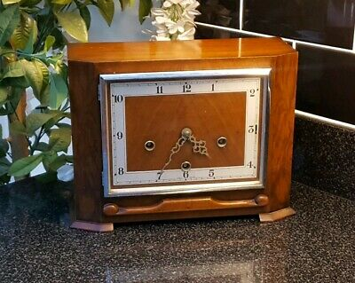 Walnut Westminster Chime Mantle Clock in Working Order