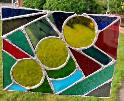 Stained Glass Abstract panel with 3 Yellow Circles