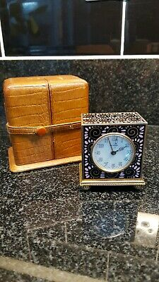 Miniature Zenith Enamel Carriage Clock and Case working order.