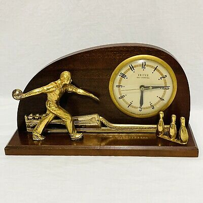 Vintage Bowling Bowler Clock Wood Brass 1940's - 1950's MCM United Clock Corp