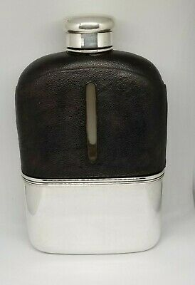 Antique TIFFANY & CO Sterling Silver and leather LARGE FLASK  Great Condition
