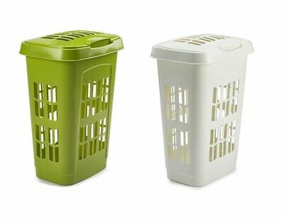 White & Leaf Green Plastic Laundry Hamper Basket With Lid Light Weight Easy Grip