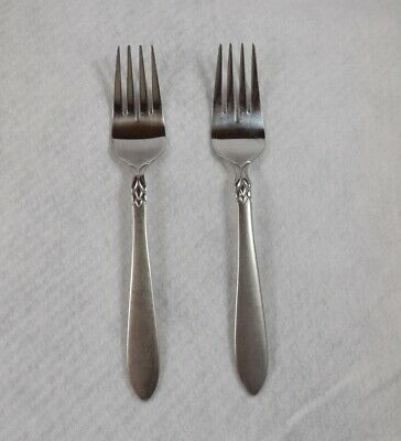 """Oneida Stainless China SIMBA JACQUELINE Frosted Handle 2 Salad Forks 7 1/4"""""""