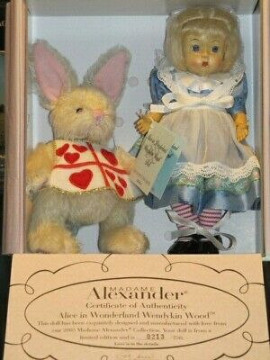 "Alice in Wonderland 8"" Wendykin Wood Doll & Rabbit, Madame Alexander doll"