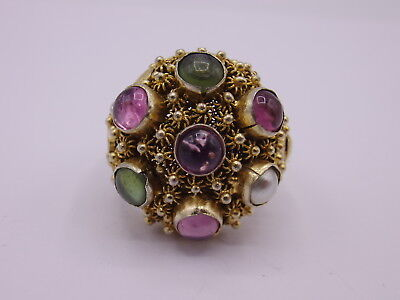 old chinese export silver filigree ring gold washed Gr. 60