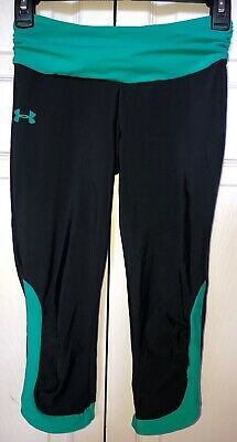 Under Armour Little Girls Leggings Black And Teal Size Small; EUC
