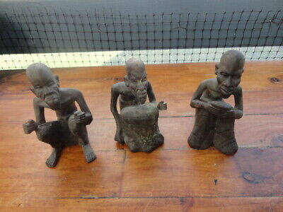 Three Vintage/Antique African Tribal Carvings Man Crouching - 2 horn made 1 wood