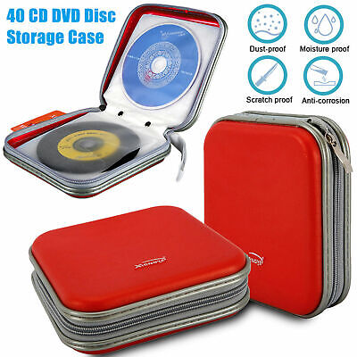 40 Disc Double-side CD DVD Red Organizer Holder Storage Case Hard Wallet Album
