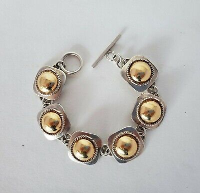 Vintage SIGNED  Sterling Silver 14K Gold ARTIE YELLOWHORSE Dome Bracelet ~ EUC