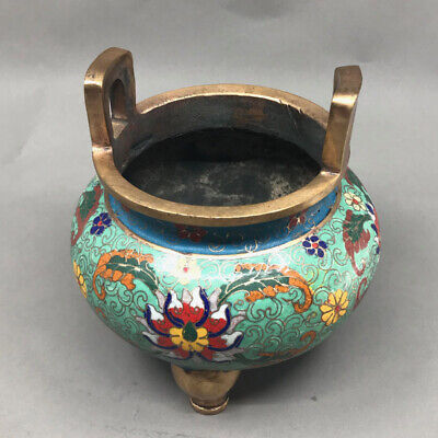 Vintage Chinese Gilt Gold Bronze Cloisonne Double Ears Incense Burner