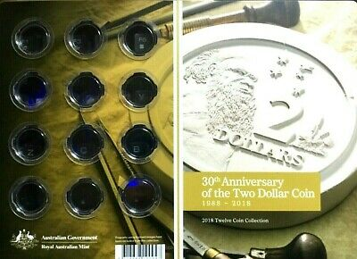 Australia:2018 30th Anniversary of the Two Dollar Coin EMPTY FOLDER & Capsules