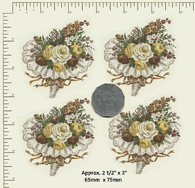 4 x Waterslide Ceramic decal Decoupage Floral bouquet Yellow, white, brown PD980