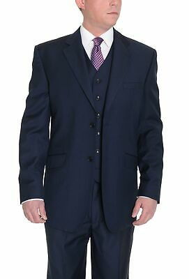 Mens 60L Classic FitSolid Navy Blue Two Button Three Piece Wool Suit