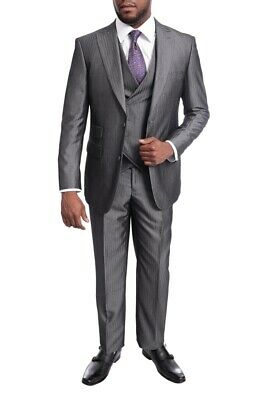 Mens 40L Emigre Extra Slim Fit Gray Twill Sharkskin Three Piece Suit With Pea...