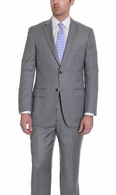 Mens 44L Zanetti Mens Classic Fit Gray Birdseye Two Button Wool Suit
