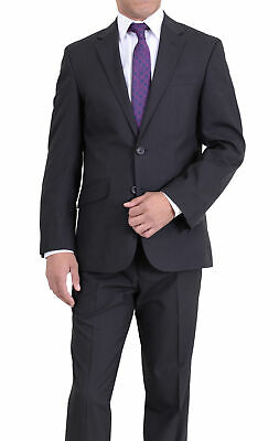 Mens 38S Kenneth Cole Regular Fit Black Pinstriped Two Button Suit