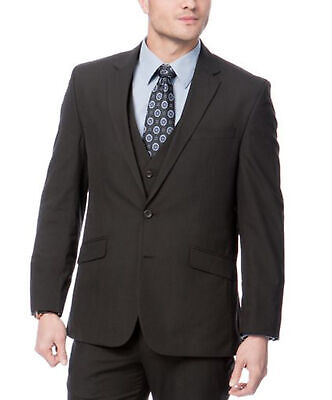 Mens 38R Kenneth Cole Regular Fit Black Pinstriped Two Button Three Piece Suit