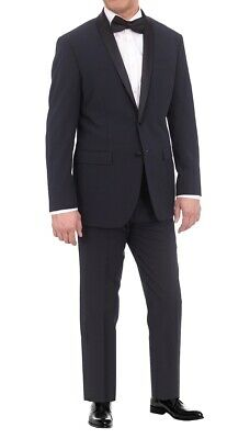 Mens 42S Eleganza Platinum Slim Fit Navy Blue Tonal Striped Two Button Tuxedo...