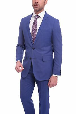 Mens 44R Mens Slim Fit Blue Textured Two Button Wool Suit