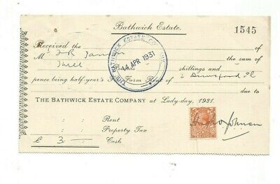 Receipt from The Bathwick Estate Company dated 1931