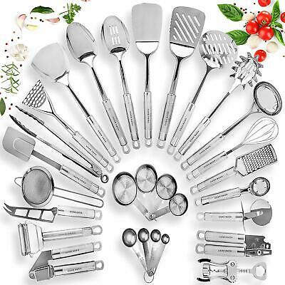 Kitchen Utensil Set Stainless Steel 29 Cooking Nonstick Cookware Set w/ Spatula
