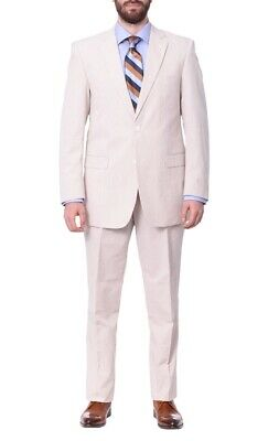 Mens 48R Emigre Classic Fit Tan Pinstriped Two Button Cotton Seersucker Suit-...