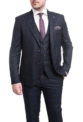 Mens 40R Cemden Slim Fit Navy Blue Windowpane Check Two Button Three Piece Suit