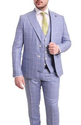 Mens 44R Cemden Slim Fit Light Blue Windowpane Plaid Two Button Three Piece Suit