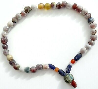 Attractive Authentic Ancient Viking Artifact Bead Necklace 700-1000 Ad 39Cm